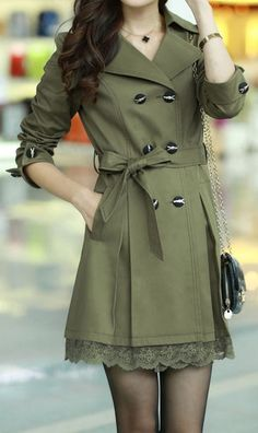 Olive green, Lace splicing | Coat. Preferably a different color though...