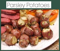 Parsley Potatoes #recipe - here's an easy side dish recipe to serve with a weeknight dinner.  The potatoes are roasted in the oven, so they can be pulled out to serve when the rest of your meal is ready.