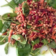 "Lentils and Buckwheat Salad To Go (Gluten-Free) | ""I needed a nourishing and complete meal-in-one that I could take with me on the go. I prepare this the day before I travel and put it in the fridge overnight. It has a great flavor that, when left to sit at room temperature, bursts through even more. The spinach leaves are sturdy and resilient so don't wilt as would lettuce. I hope you like it."""