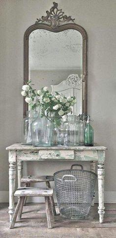 bottl, vintage mirrors, cottag, farmhouse table, antique mirrors, shabbi chic, shabby chic, wire baskets, vignette