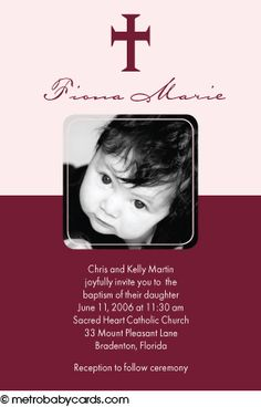Photo Baptism/Christening Invitations :: Adored Pink Design