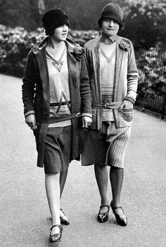 Two women in Chanel suits, c. 1920's.