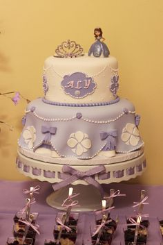 What a stunning cake at a Sofia the First party! See more party ideas at CatchMyParty.com! #partyideas #sofiathefirst