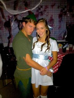 Peter Pan and Wendy DIY couples costume #halloween This is adorable. But the dress needs to be longer.