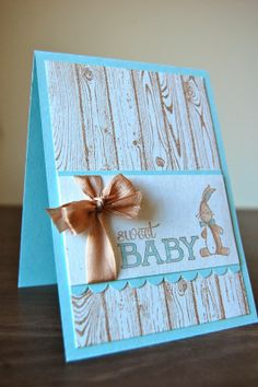 Baby Cards with the SU Hardwood background stamp