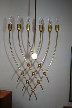 Guglielmo Ulrich; Brass Chandelier, 1940s.  #GISSLER #interiordesign