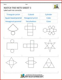 Nets Worksheets Printable - Match the nets sheet 3