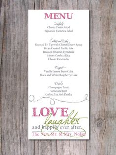 Wedding Menu - Happily Ever After. - for our programs