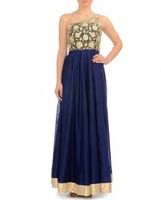 Midnight Blue One Shoulder Gown- Buy Dresses,Payal Singhal - Lakme '14 Online | Exclusively.in