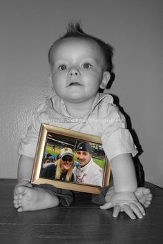 Baby with picture of mom and dad....could do picture of just dad as father's day gift.