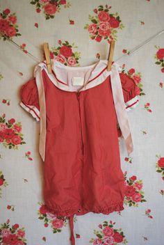 Vintage Baby Romper Red Striped