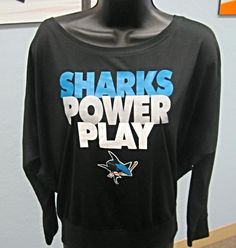 Sharks Power Play black shirts available at the Sharks Store. Call to order: 408-999-6810
