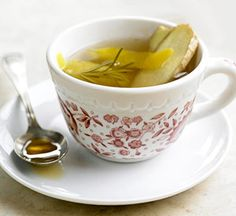 Ginger Tea- Boil 1/2 C water, 1/4 t ginger, 1 t honey.  Ice cube to cool down.  Drink to sooth throat or tummies.
