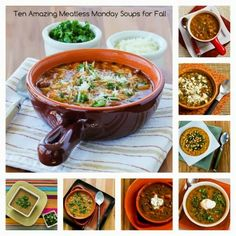 Ten Amazing Meatless Monday Soup Recipes to Welcome the Arrival of Fall; these favorite soups will make you hate the cold weather a little bit less!  [from KalynsKitchen.com] #MeatlessMonday #Vegetarian #MeatlessSoup