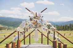 Beautiful homemade paper flowers adorn this ceremony arbor... Whimsical Colorado Ranch Wedding: Lauren + Nate Wedding Dressses, Floral Arch, Deviled Thumb, Ceremonies Backdrops, Ceremonies Floral, Colorado Ranch, Ranch Weddings, Thumb Ranch, Big Paper Flowers