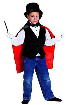 With the wave of a wand, your child can look like a magician! This costume includes Cape with secret pockets, Button Down Vest, Top Hat with secret compartment, Magic Wand, White Gloves and Bow Tie. For children age 4-8. $49.99 #magic #vest #tophat #kids #magician #costumes