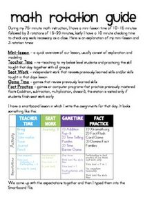 Here's a quick guide to using rotations in math instruction. This model includes teacher time, seat work, fact practice, and game time.