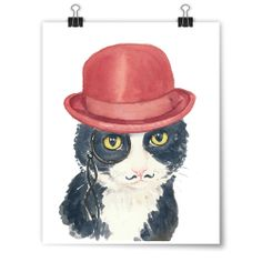 """""""Tuxedo in a Bowler"""" Deidre Wicks Toronto, Ontario, Canada  Available to purchase in our Winter Exhibit: http://pussiesonparade.com/exhibits/  #cat #catart #cats #art #painting #watercolor"""