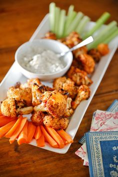 The Chubby Vegetarian: Baked Cauliflower Wings with Black and Bleu Dressing