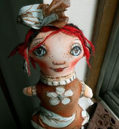 Original art doll Lina with red hair made entirely by hand OOAK by miliaart #Etsy
