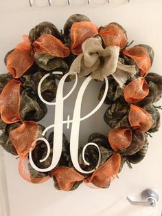 Camo wreath with letter  by TejanoTraditions on Etsy