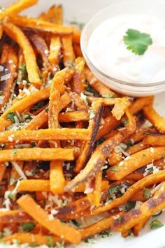 Baked Sweet Potato French Fries with Parmesan & Cilantro and skinny Sriracha Dip