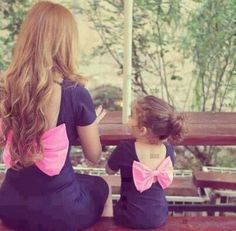 little girls, fashion, matching outfits, mother, dress