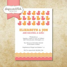 Ducks on Parade Invitation  Baby Shower or by hopscotchink on Etsy, $12.00
