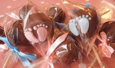 blue footprint, baby shower cakes, chocolates, cake pops, shower idea, chocolate cakes, blues, babi shower, baby showers