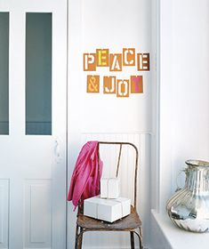 Create your own holiday decor with these easy crafts and projects.; stencil letters for JT's room