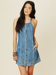 Button Down Denim Dress. There's so many big ugly denim dresses at the Thrift Store just begging to be refashioned