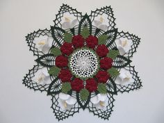 This Mix Christmas Doily is gorgeous! #free #crochet #knit #patterns #charts #diagrams