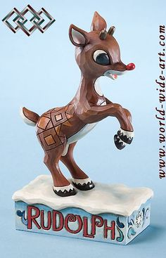 Rudolph the Red-Nosed Reindeer - Rudolph Learning to Fly - Jim Shore - World-Wide-Art.com