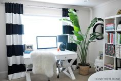 Honey We're Home gave us a tour of her black  white office, featuring our Jett Desk.