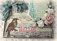 Close up of Hello from Paris card designed by Melissa Bove