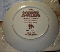 Bettie Felder Pastoral Symphony Gather The Children Collector Plate .This tells about the back ground of the painting.B