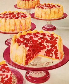 General Foods Cookbook 1959, jello chunks in a creamy base covered with ladyfingers