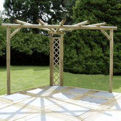 Kinlet Corner Pergola  -  This would be strong enough for wisteria Corner Pergola, Backyard Idea, Pergolas, Summer Garden, Gardens, Patio, Garden Idea, Garden Structures, Garden Buildings