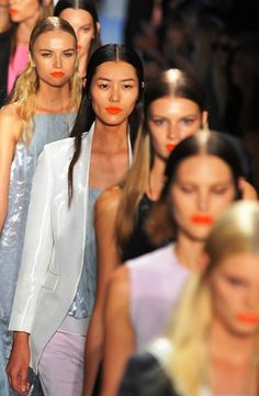 Orange lips, orange lips, orange lips. New York fashion week 2014 s/s. #nyfw #nyfw14 #orange