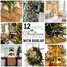 I want to do all of these! Ideas for using burlap in your Christmas decor. #burlapchristmas #burlapstockings #christmas #diy