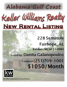 NEW RENTAL LISTING: 228 Seminole, Fairhope, AL...MLS# 210984...$1050/Month...2 Bedroom, 1 Bath...Great rental cottage in Fairhope with Bay access and very close to town. This update cottage is neat as a pin and move in ready with nice kitchen and bath and a huge screened in porch. Great location! Please contact Danita Galanopoulos at 251-709-1001.