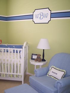 Faded lime on nursery wall.  Navy and white accent instead of light blue.