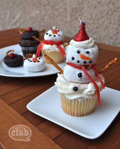 easy reindeer and snowman cupcake with donuts