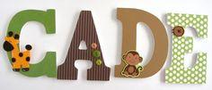 Monkey Custom Wooden Letters Personalized Nursery by LetterLuxe wooden letter, monkey theme, nurseri bedroom