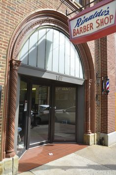 10/6/14 -- Rinaldo's Barber Shop on Allen Street opened as Smith's in 1925 and is the oldest continually operating barbershop in State College. They maintain chairs, fixtures and furnishings that originated in 1919. After a fire, Rinaldo's rebuilt in the Romanesque style.