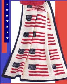 Image of American Flag Throw free crochet pattern