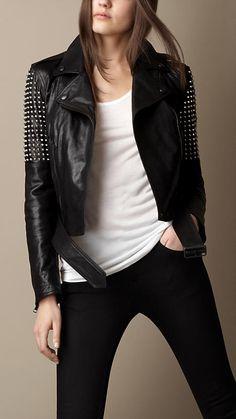 Studded Leather Biker Jacket | Burberry