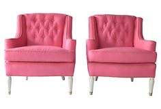 1940s pink linen lounge chairs.  one kings lane.
