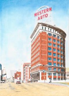 Pencil drawing of Kansas City landmark, the Western Auto Building.