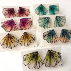 GINGKO FLOWER earrings // unique handdrawn shrink by AnneTranholm